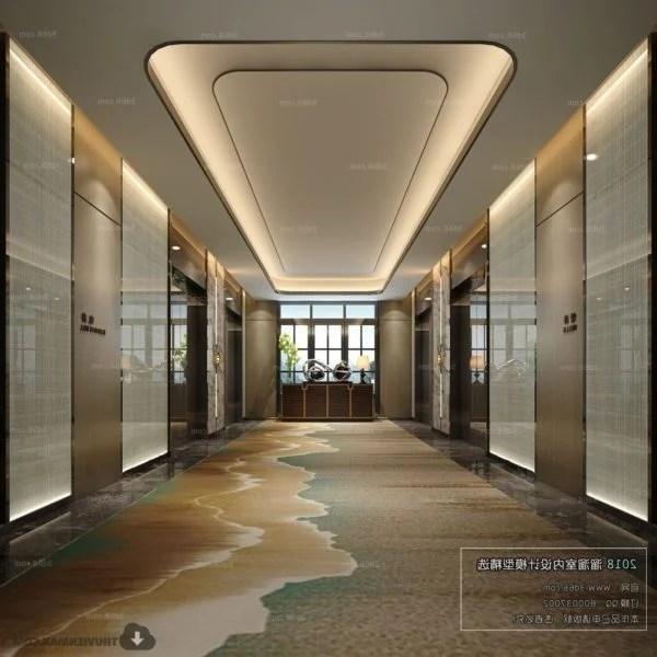 Chinese Style Hotel Lobby Decoration Interior Scene