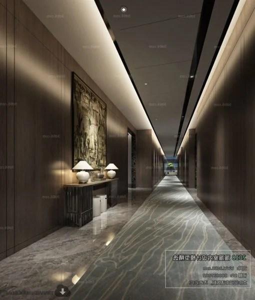 Simple Modern Design Hotel Lobby Interior Scene