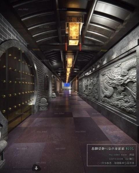 Chinese Style Corridor Lobby Interior Scene