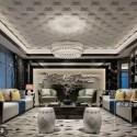 النمط الصيني غرفة المعيشة الفاخرة المشهد الداخلي