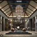 Luxury Resort Reception Room With Pond Interior Scene