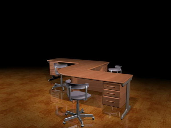 Marvelous L Shaped Office Workbench Free 3Ds Max Model Max Vray Evergreenethics Interior Chair Design Evergreenethicsorg