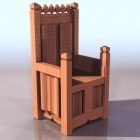 Medieval Throne Chair Wooden Material