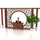Antique Chinese Wooden Feature Wall