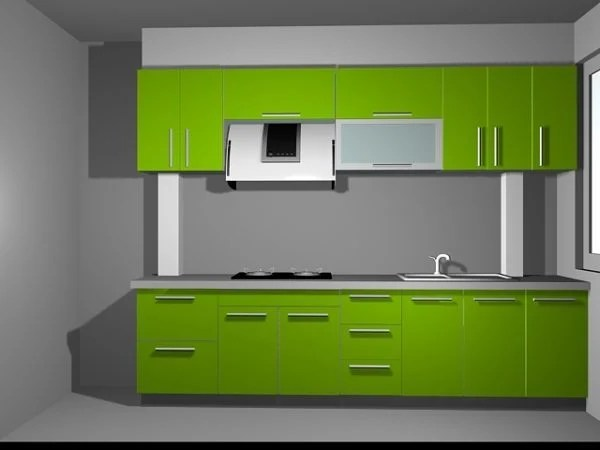 Green Color Home Kitchen Design Free 3d Model Max Vray Open3dmodel 198468