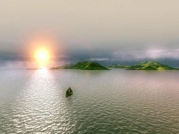 Island Sunset Scene