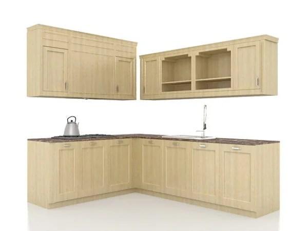 L Cocina Gabinetes De Madera Diseño Gratis 3ds Max Modelo ...