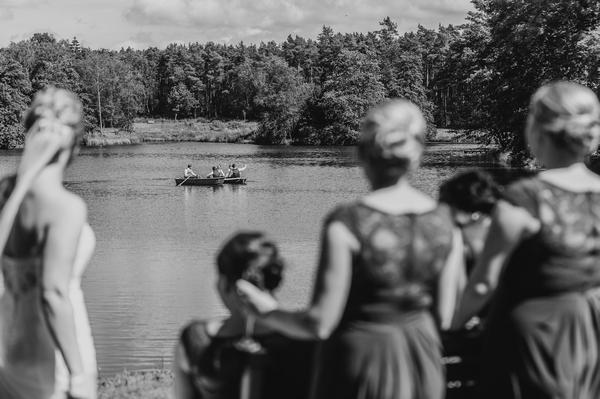 Black and white photo of lake at Browsholme Hall