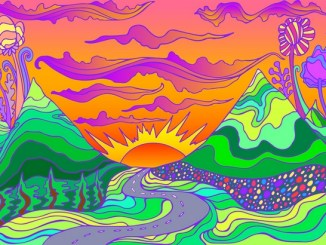 Cartoon of mountains at sunset