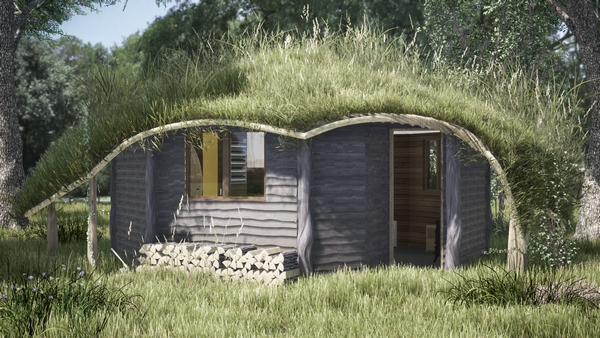 Glampsite hut with grass roof
