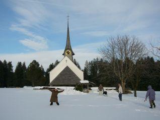 Swiss church in the snow