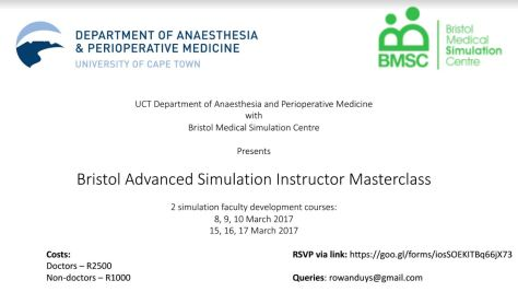 Bristol Advanced Simulation Instructor Masterclass (BASIM) in Cape