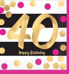 40th birthday pink gold metallic beverage napkins 16 [ 2000 x 2000 Pixel ]