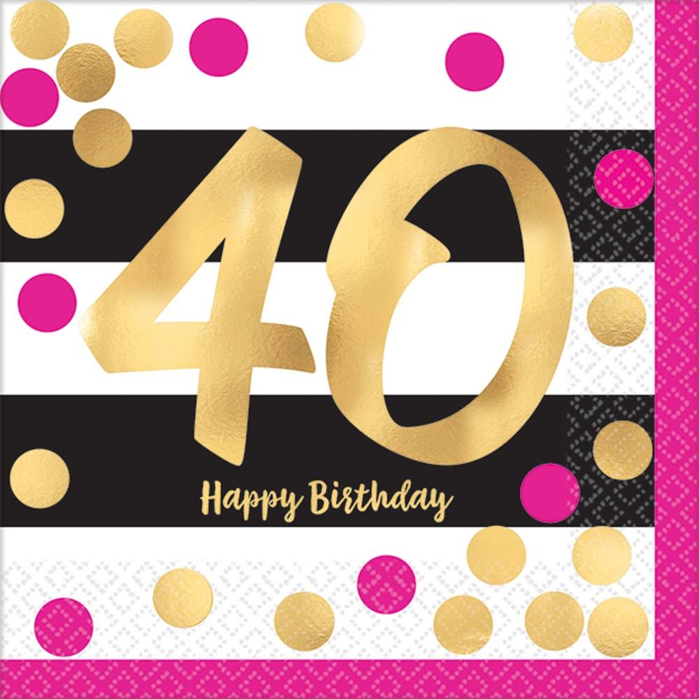 medium resolution of 40th birthday pink gold metallic beverage napkins 16