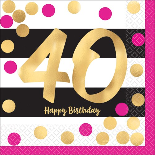 small resolution of 40th birthday pink gold metallic beverage napkins 16