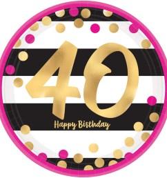 40th birthday pink gold metallic dessert plates 8 pk [ 2000 x 2000 Pixel ]