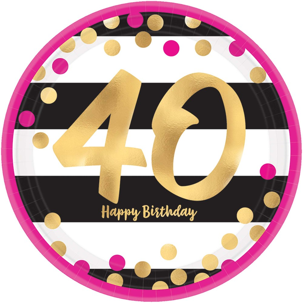 medium resolution of 40th birthday pink gold metallic dessert plates 8 pk