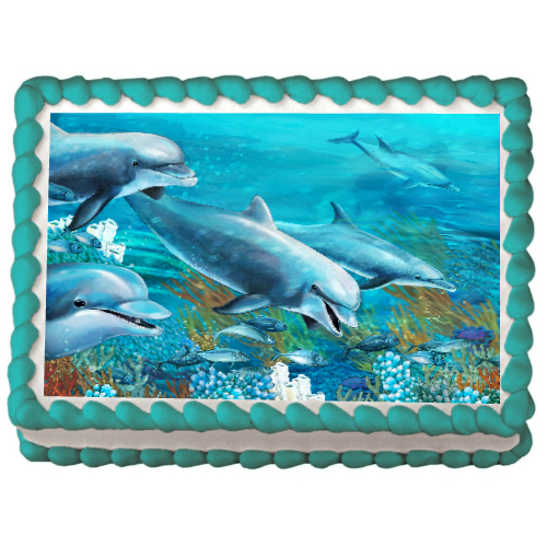 Dolphin Edible PERSONALIZABLE Cake Icing Image Party