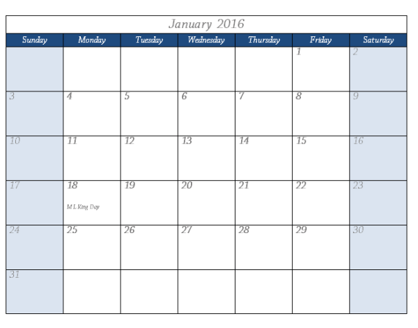 2016 Calendar Template With Spaces for Note