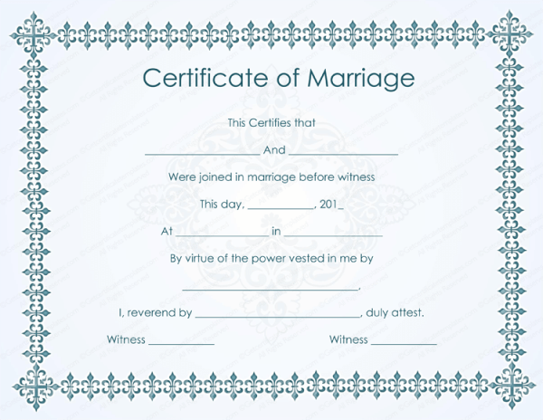 Marriage certificate template Microsoft® word