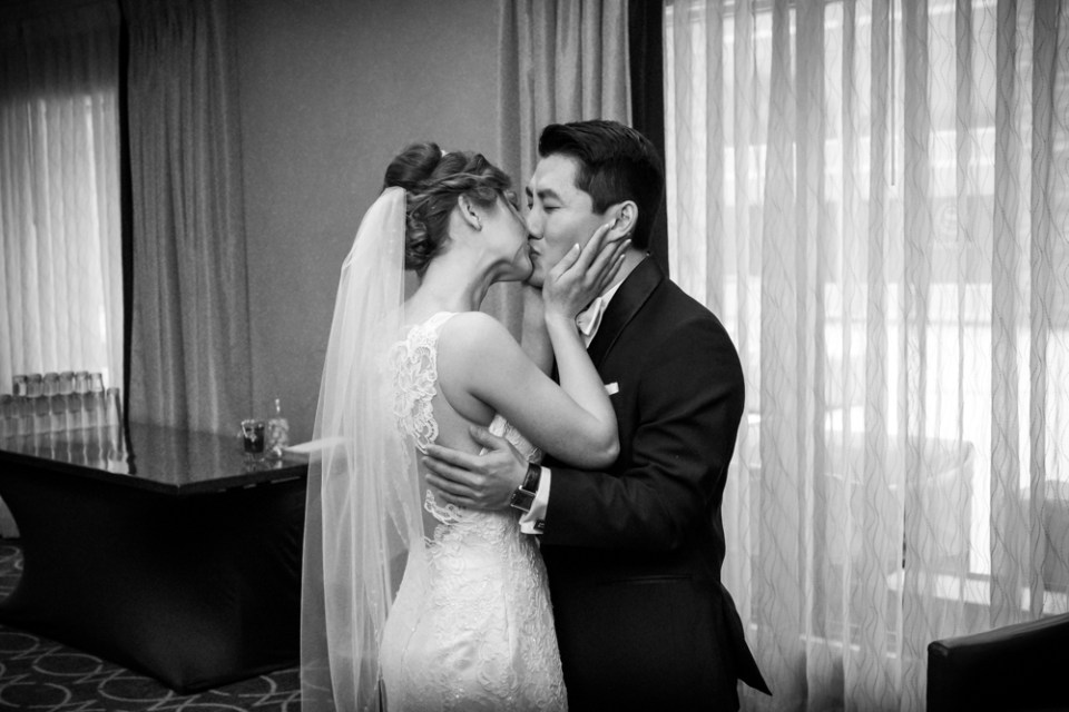 First kiss between bride and groom