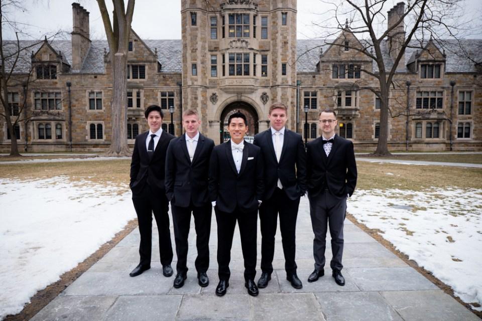 Groom and groomsmen in Ann Arbor Law Quad