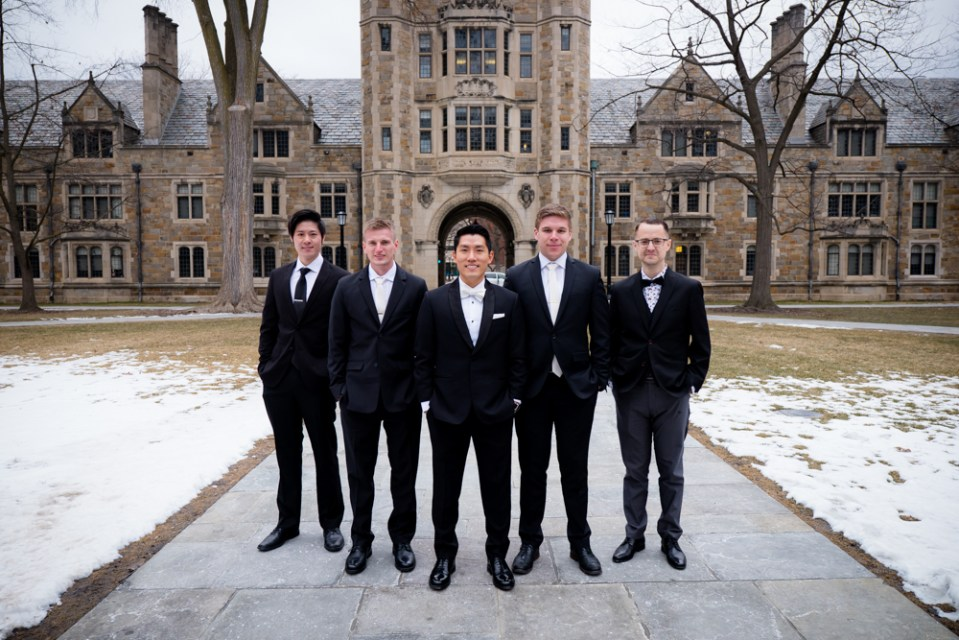 Groom and groomsmen in Ann Arbor Law Quad