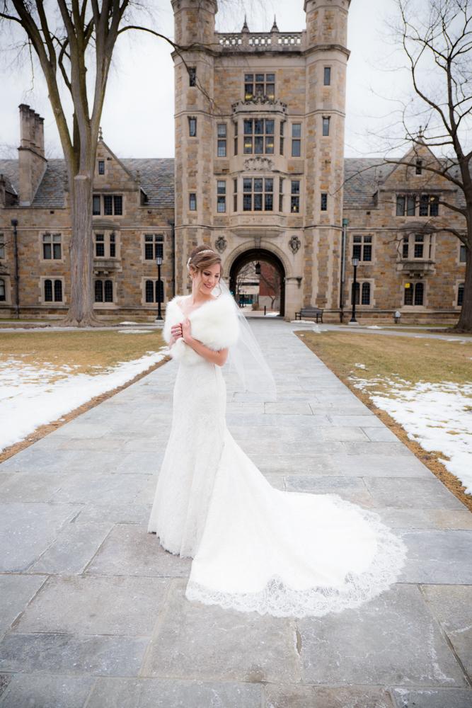 Full body bridal image in Ann Arbor Law Quad