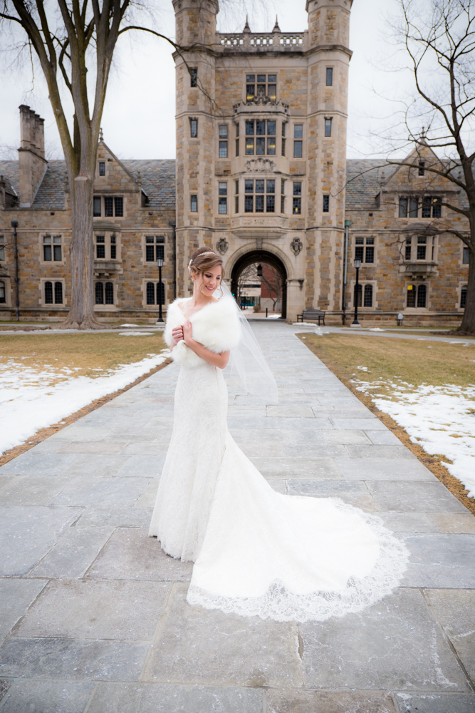 Full body bridal image in Ann Arbor Law Quad