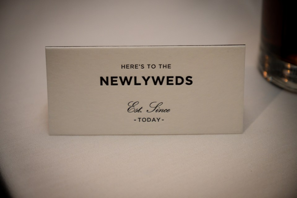 Name cards - here's to the newlyweds!