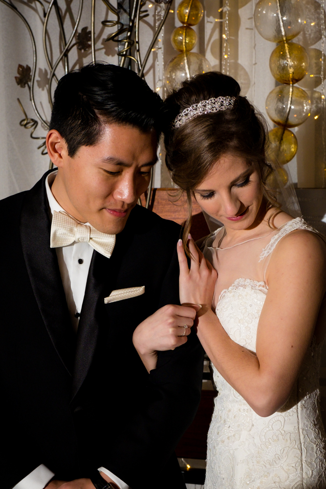 Bride and groom at Vinology