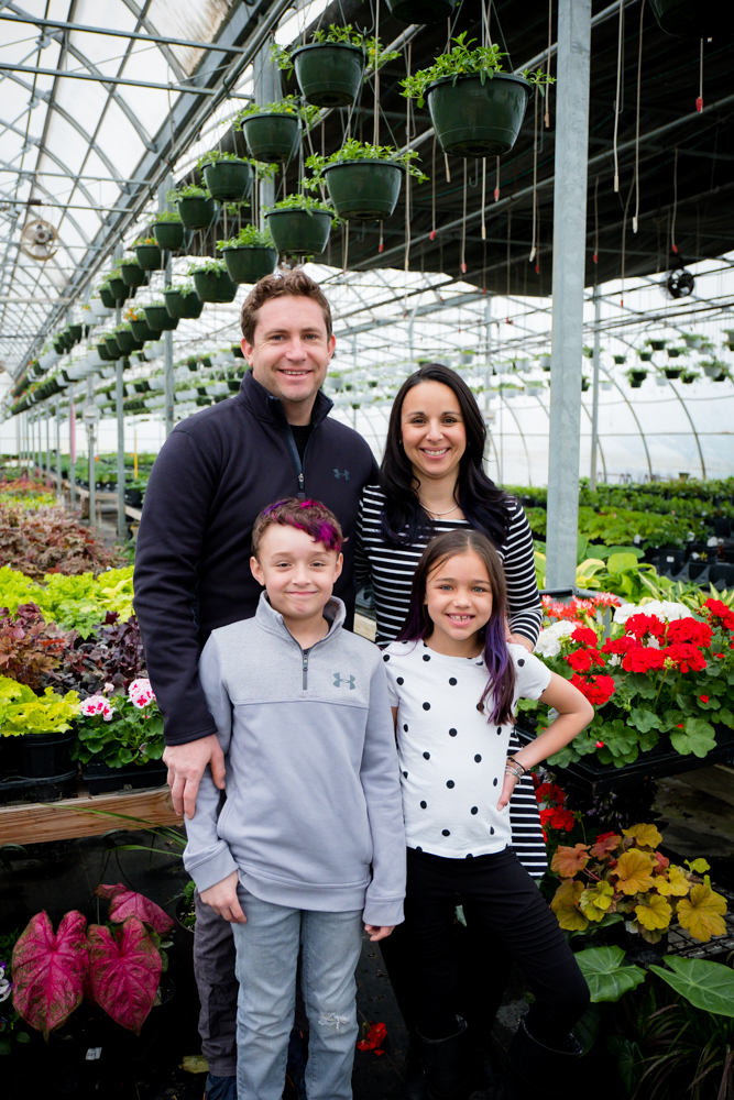Family of four at HillTop Greenhouse & Farms