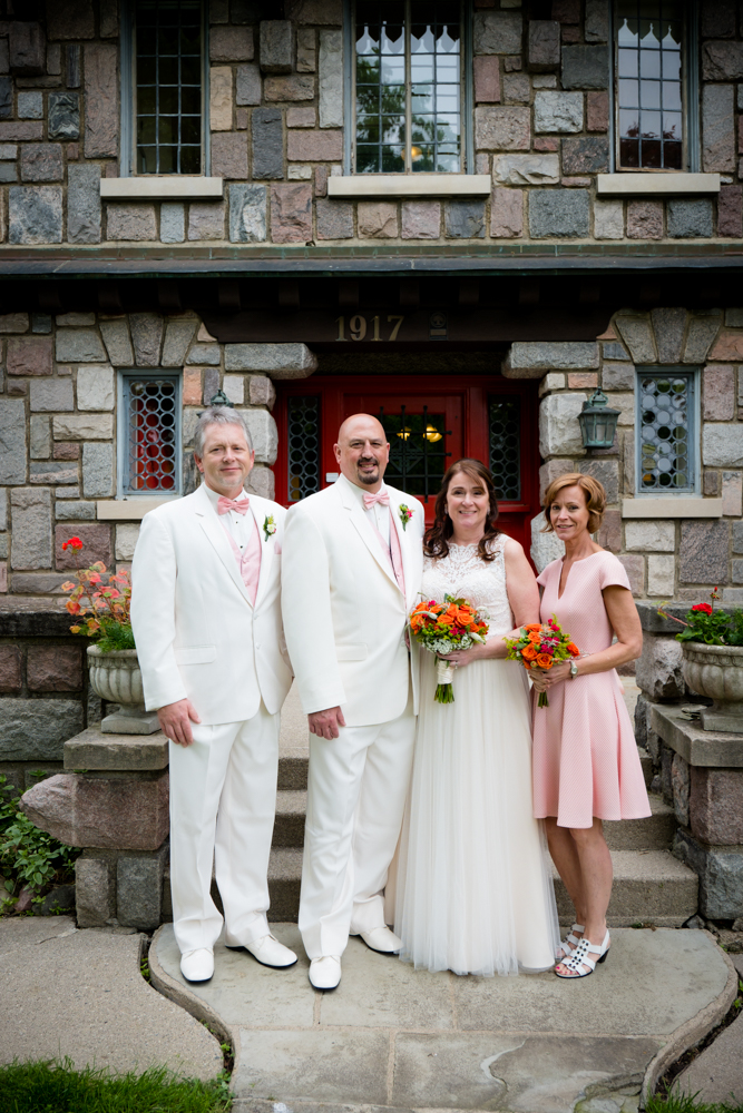 Best man, groom, bride and maid of honor at the Stone Chalet Bed and Breakfast in Ann Arbor, Michigan
