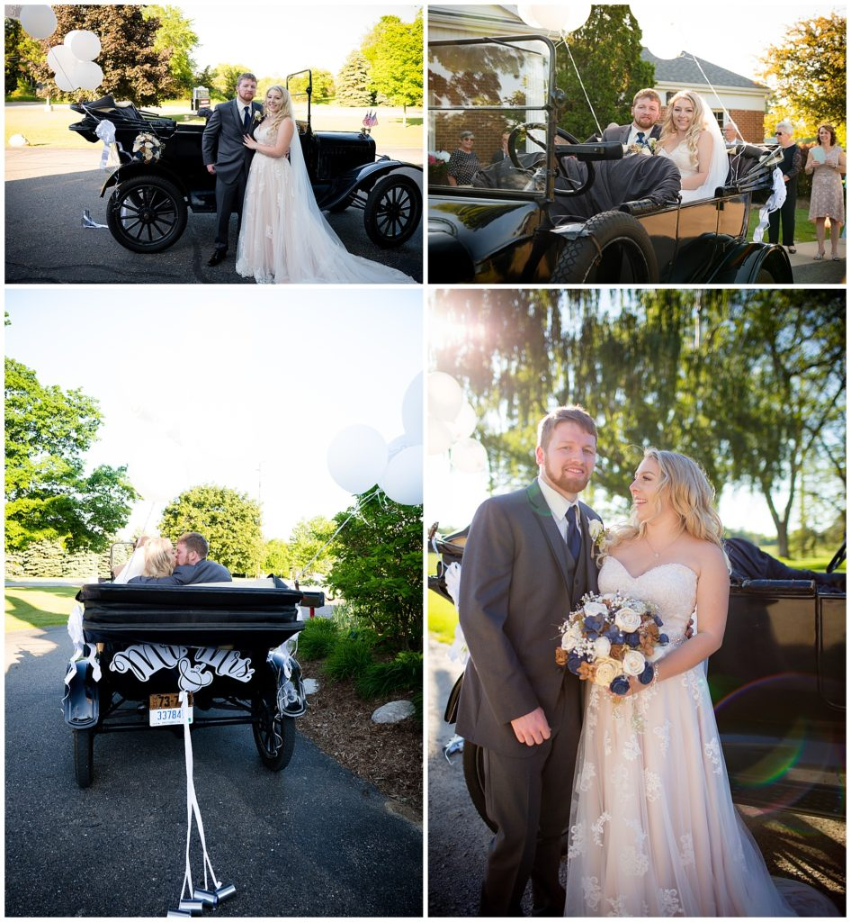 Bride and groom in a series of 4 photos with the decorated Model T car they were driven to the reception in.