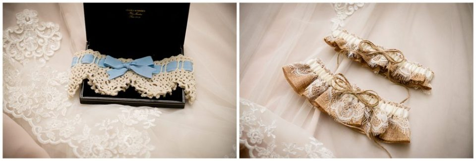 "Three beautiful garters for the bride, one with blue ribbon for the ""something blue""."