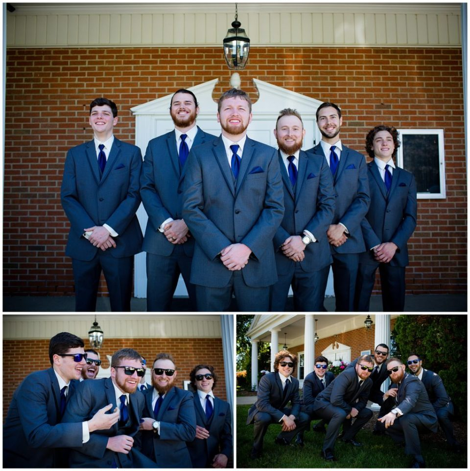Three photos of the groom and his groomsmen, bottom two photos the guys are wearing sunglasses.