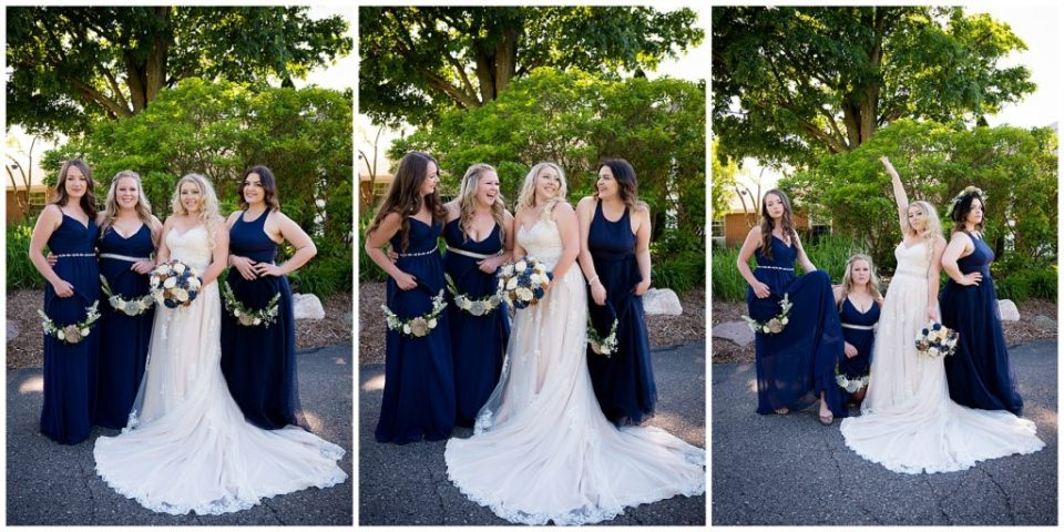 Series of three photos of the bride and her bridesmaids.