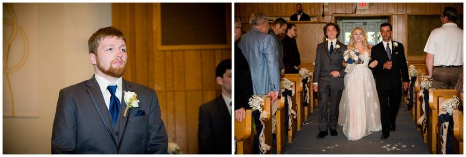 Brandon seeing Hannah for the first time on their wedding day and Hannah walking down the aisle with her brother and father.