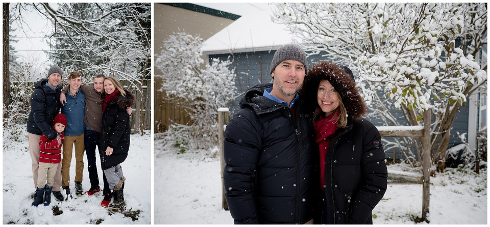 Two winter family portraits with beautiful cold snow falling all around them.
