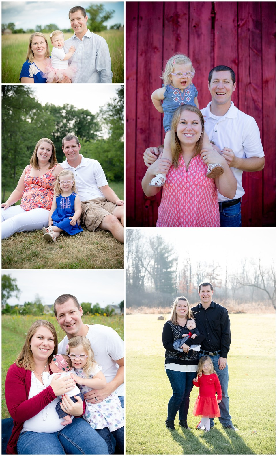 Collage of 5 photos of a family over a span of 4 years