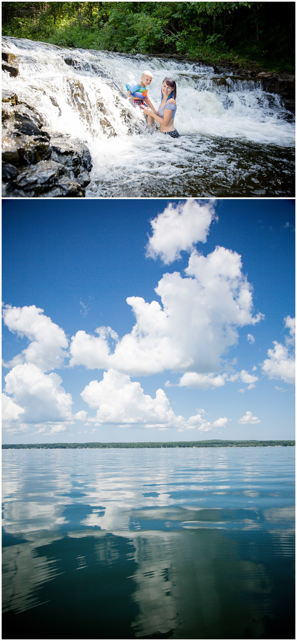 Two photos stacked, Top: Christy and her son in a waterfall. Bottom: Calm lake waters with bright blue skies and fluffy white clouds reflecting in the water.