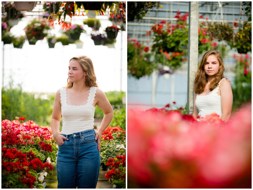 Two photos of Abbey in a beautiful greenhouse surrounded by red and pink flowers