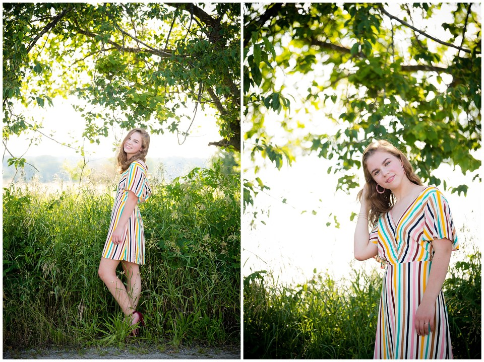 High school senior in the woods with gorgeous backlit sunshine.