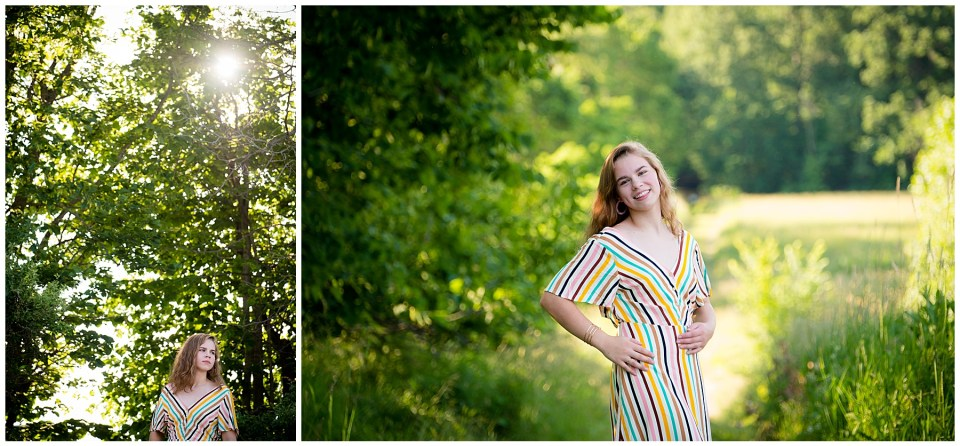 Two photos of Dexter High School senior in the woods and by a trail surrounded by greenery.