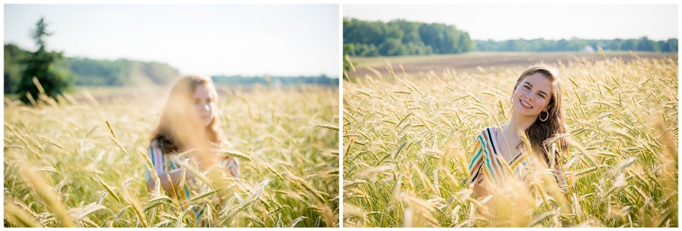Senior girl in a golden wheat field.