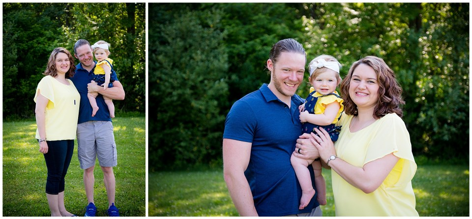 Two family portraits of mom, dad and baby girl.