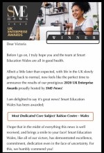 Winner of Most Dedicated Core Subject Tuition Centre- Wales 2020
