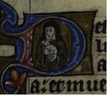 Medieval manuscript image shows a nun holding a lap dog