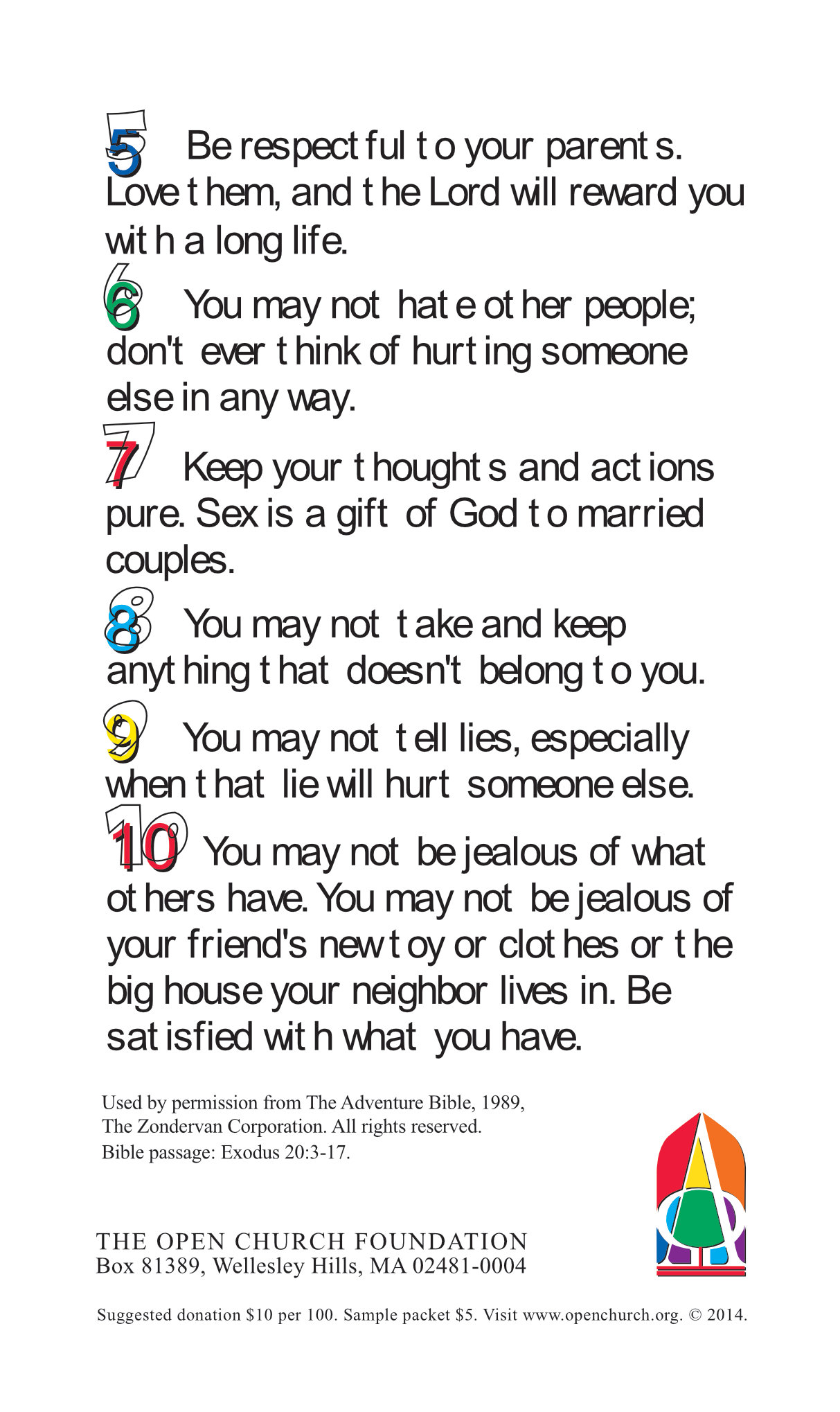 10 Commandments For Kids Open Church Foundation