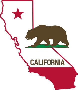 California - Outline and Flag (Solid) by DevinCook